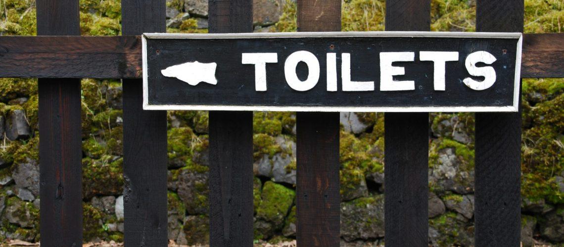 vintage toilets sign on wooden fence